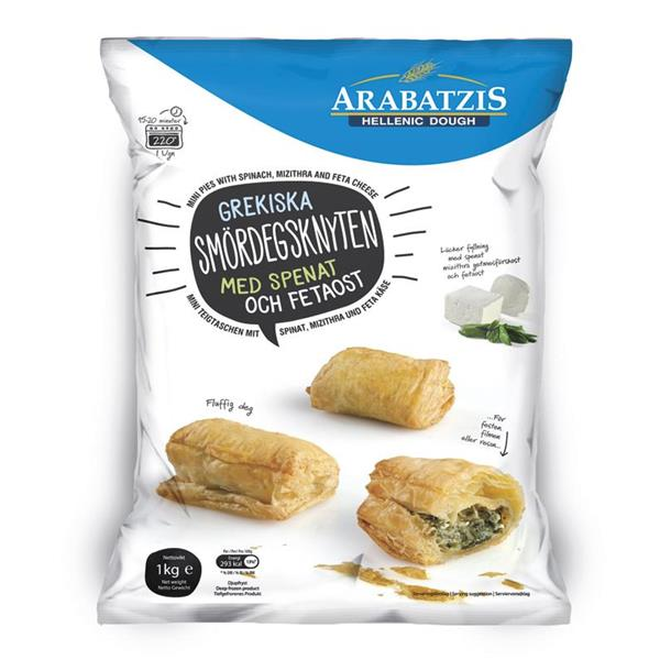 MINI PIES WITH SPINACH & MIZITHRA-FETA CHEESE 6x1kg. (SE)